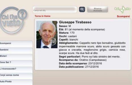 Share: Ancora non ci sono tracce dell'81enne di Campobasso Giuseppe Tirabasso, scomparso due giorni prima […]